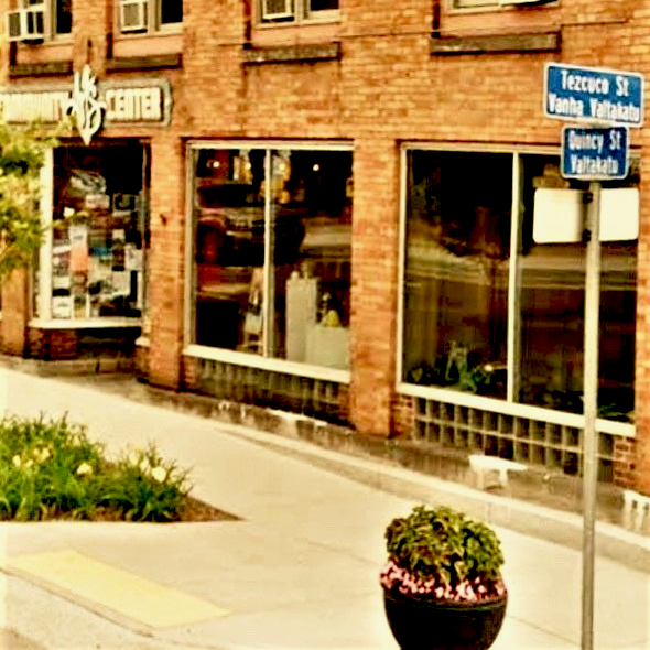 A picture of the corner where the art center is in Hancock, Michigan