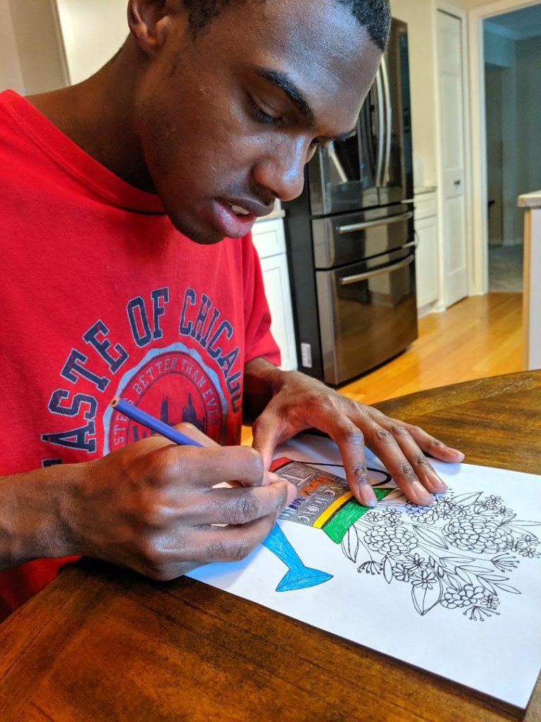 Club Create member using colored pencils at home