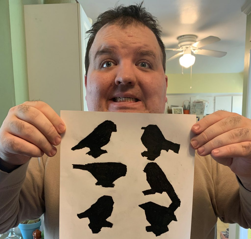 Club Create member showing his 6 shadow drawings in his kitchen