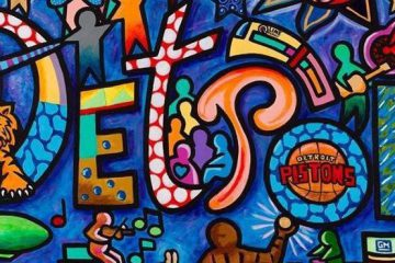 Daniel Cascardo Mural with Detroit spelled out and images of detroit landmarks and sports teams incorporated