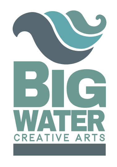 Big Water Creative Arts Logo in shades of green with a wave at the top