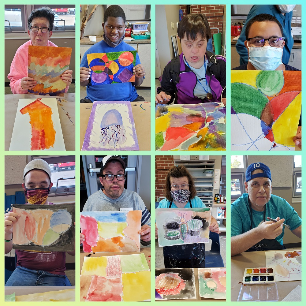 Eight individual pictures of club members collaged into one photo. The members are shown with their painting projects.